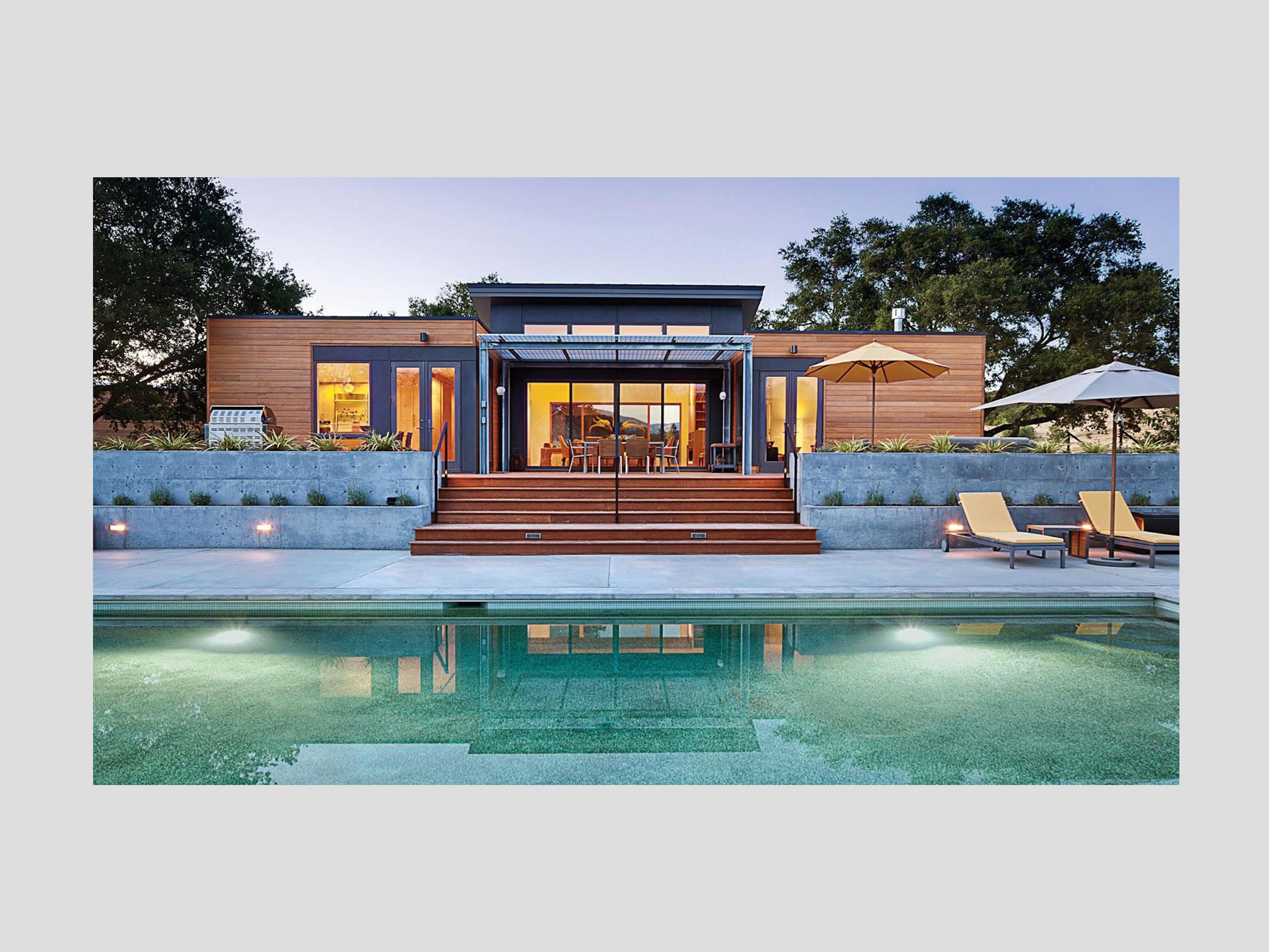 render villa moderna in legno